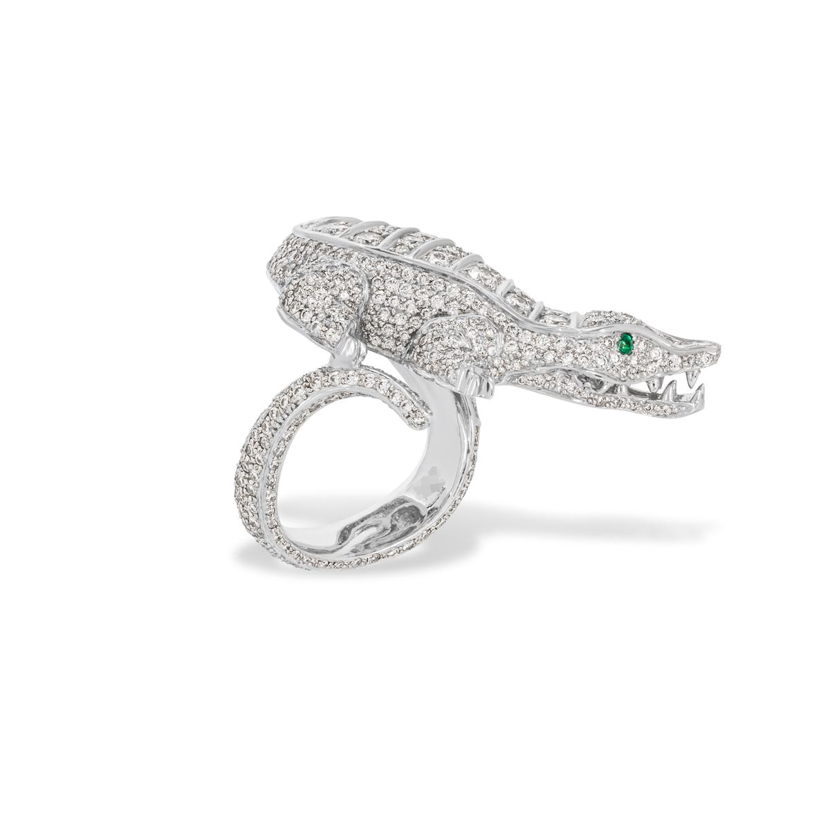 Diamond Set Alligator Dress Ring in Platinum 5.75ct